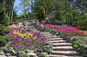 Schody z kamienia naturalnego w ogrodzie