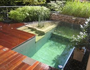 murowany basen w ogrodzie