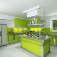 nowoczesna, zielona kuchnia