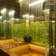 wnętrze łazienki w stylu eko, drewniana łazienka