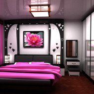 Piękna sypialnia w odcieniach fioletu