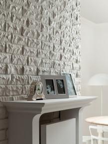 Ściana z białego, łupanego klinkieru stanowi piękny i elegancki detal wnętrza. fot. Roben